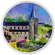 Spring In Celles  Round Beach Towel