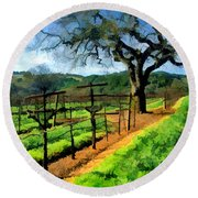 Spring In The Vineyard Round Beach Towel