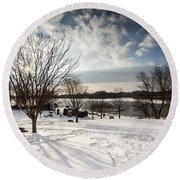 Spring Is Buried Just Below The Snow Round Beach Towel