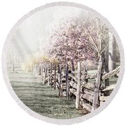 Spring Landscape With Fence Round Beach Towel