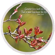 Spring Leaves Greeting Card With Verse Round Beach Towel