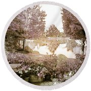 Spring Magical Fairyland Lake Round Beach Towel