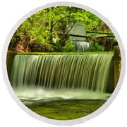 Spring Mill Spillway Round Beach Towel