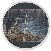 Spring Morning At The Marsh Round Beach Towel