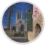 Spring Morning Brides Cottage Tickhill Yorkshire Round Beach Towel