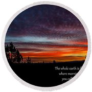Spring Peaceful Morning Sunrise Bible Verse Photography Round Beach Towel