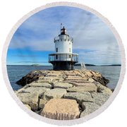 Spring Point Ledge Light Round Beach Towel