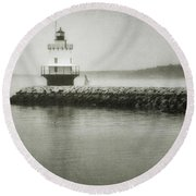 Spring Point Ledge Light Round Beach Towel by Joan Carroll