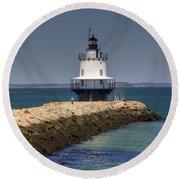 Spring Point Ledge Light Round Beach Towel by Joann Vitali