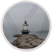 Spring Point Ledge Lighthouse Round Beach Towel