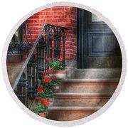 Spring - Porch - Hoboken Nj - Geraniums On Stairs Round Beach Towel