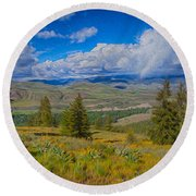 Spring Rain Across A Valley Round Beach Towel