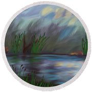 Spring Reed In The Canyon Round Beach Towel