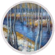 Spring River Thaw Round Beach Towel