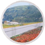 Spring, Route 1, California Coast Round Beach Towel