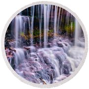Spring Runoff At The Falls Round Beach Towel