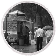 Spring Shower - Rainy Day In New York Round Beach Towel