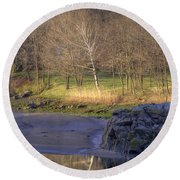 Spring Sunrise At Ring Bolt Rock Round Beach Towel