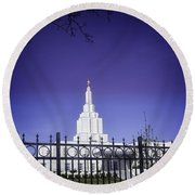 Spring Time At The Idaho Falls Temple Round Beach Towel