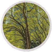 Spring Time In Bryant Park New York Round Beach Towel by Angela A Stanton