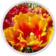 Spring Tulip Flowers Art Prints Yellow Red Tulip Round Beach Towel