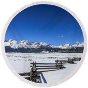 Spring View Of The Sawtooth Mountains Round Beach Towel