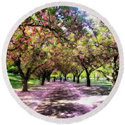 Spring Walkway Lined By Blooming Cherry Trees Round Beach Towel