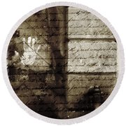 spring water memories - A letter and hand print composition beside a vintage griffin Round Beach Towel