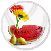 Spring Watermelon Round Beach Towel by Carlos Caetano