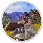 Spring Wildflowers At Anza Borrego Round Beach Towel