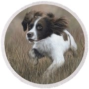 Springer Spaniel Painting Round Beach Towel