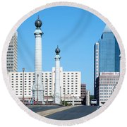 Springfield Memorial Bridge Round Beach Towel