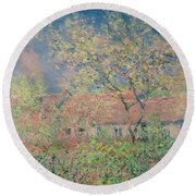 Springtime At Giverny Round Beach Towel by Claude Monet
