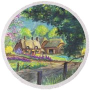 Springtime Cottage Round Beach Towel