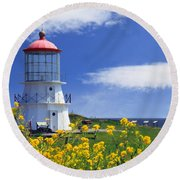 Springtime Lighthouse Round Beach Towel