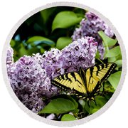 Springtime Lilac And Butterfly Round Beach Towel