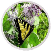 Springtime Moments- The Butterfly And The Lilac  Round Beach Towel