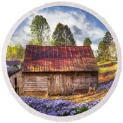 Springtime On The Farm Round Beach Towel