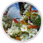 Springtime Pear Blossoms - Hello Spring Round Beach Towel