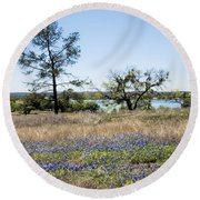 Springtime Texas Bluebonnets Naturalized Round Beach Towel