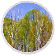 Springtime Trees Round Beach Towel