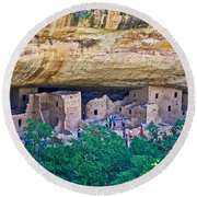 Spruce Tree House On Chapin Mesa In Mesa Verde National Park-colorado  Round Beach Towel