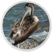 Sprucing Pelican Round Beach Towel