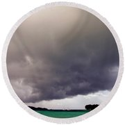 Squall Over The Bay, The Seychelles Round Beach Towel
