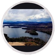 Squam Lake New Hampshire Round Beach Towel