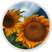 Squamish Sunflowers Round Beach Towel
