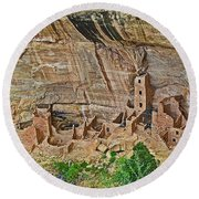 Square Tower House On Chapin Mesa Top Loop Road In Mesa Verde National Park-colorado Round Beach Towel