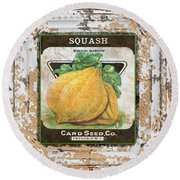 Squash On Vintage Tin Round Beach Towel