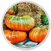 Squatty Orange Pumpkins Round Beach Towel