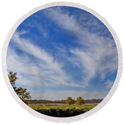 Squaw Creek Landscape Round Beach Towel